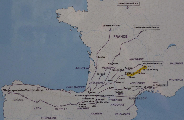 Jakobsweg Karte Frankreich.Karte Der Jakobswege Von Frankreich Nach Santiago Dario